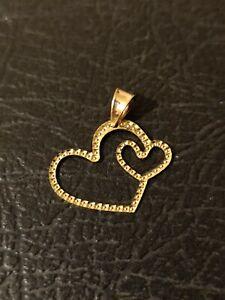 Pendentif double coeur or 18 carats