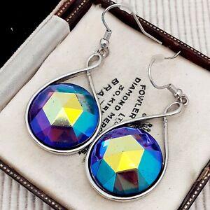 Vintage-CZECH-Blue-Purple-AB-Glass-Statement-Striking-Drop-Dangle-Earrings