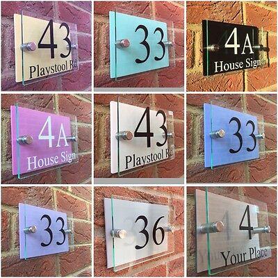MODERN HOUSE SIGN PLAQUE DOOR NUMBER STREET GLASS ACRYLIC ALUMINIUM LED SIGN