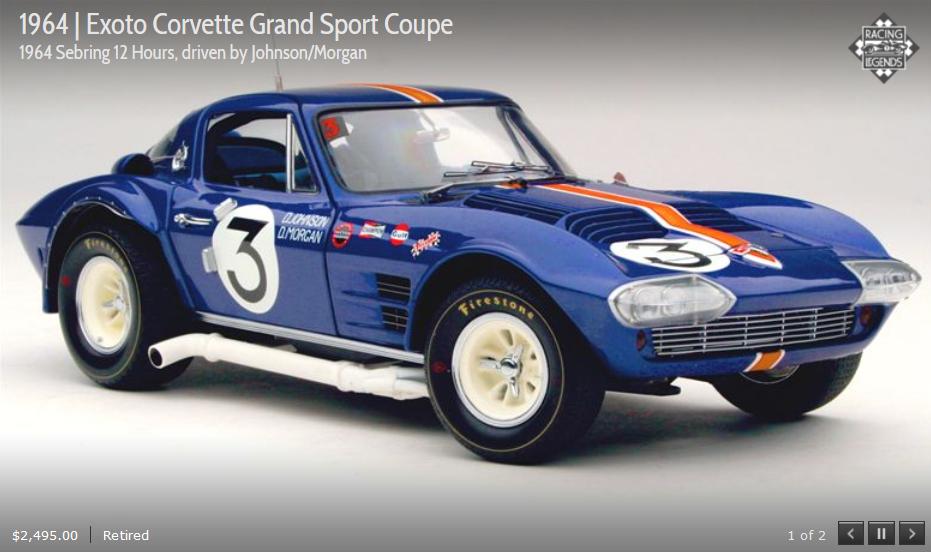 Exoto 64 Corvette Grand Sport Coupe Sebring 12 H JohnsonMorgan 1:18 Nuevo en Caja RLG18025