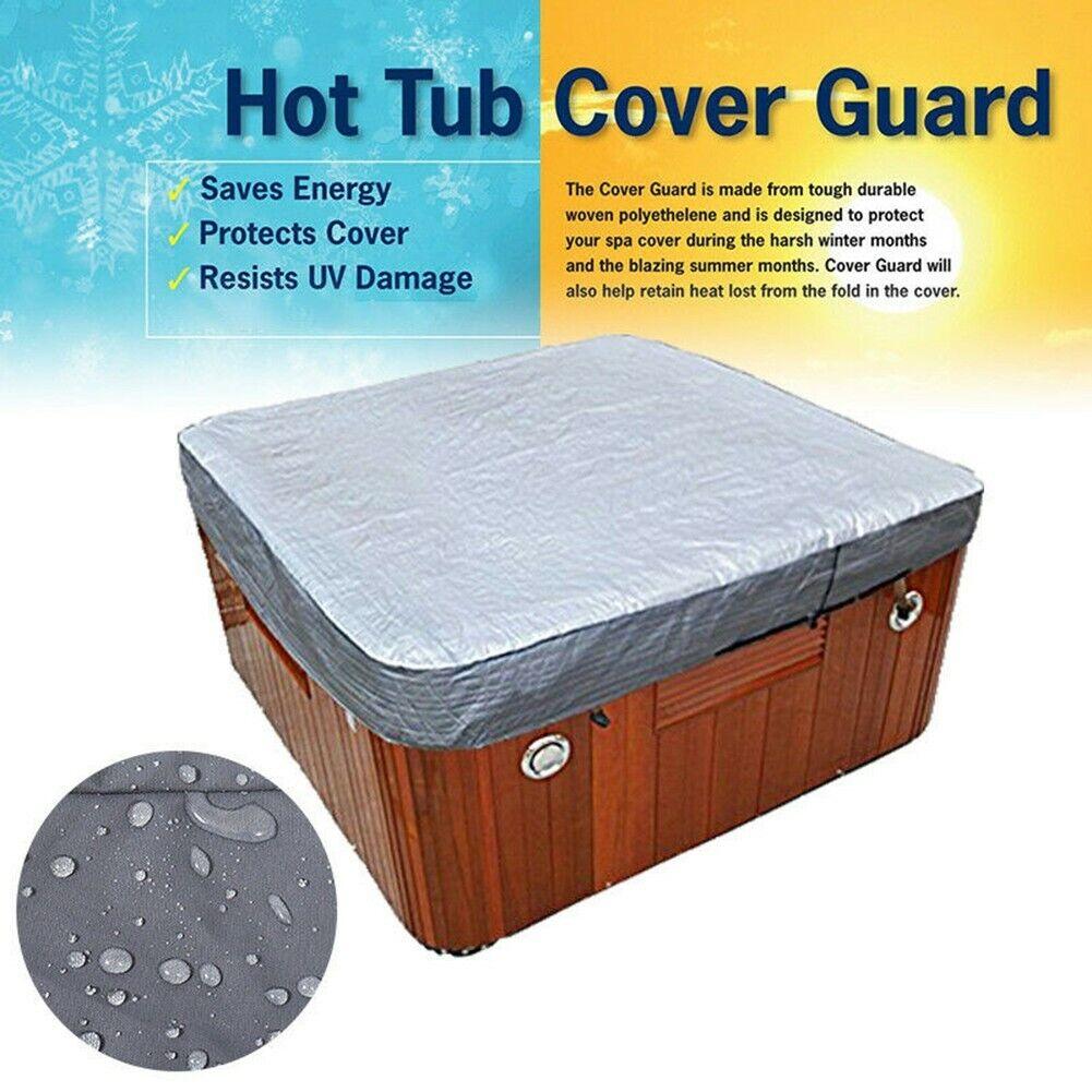 Hot Tub Spa Cover Cap Guard Waterproof Silver Jacket Bag Protector 207*207*30