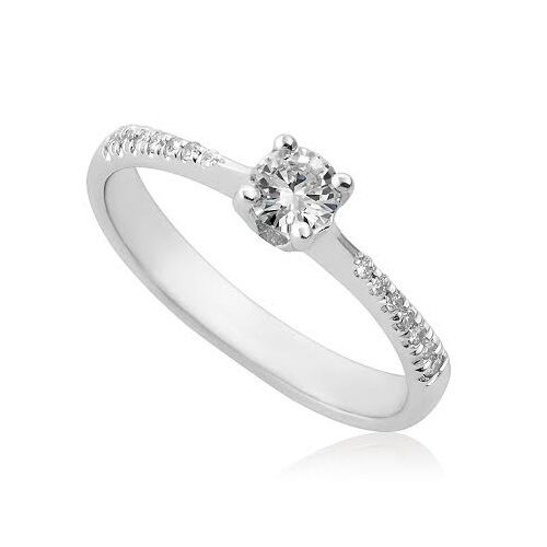 14k Solid White gold Round Cut Natural Diamonds 0.30 ct Bridal Engagement Ring