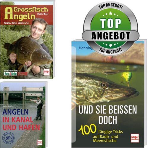 Großfisch Angeln Set 3er Angelbuch in Kanal /& Hafen Und sie beissen doch