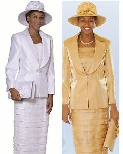 New Lynda S Lady Women Dress Church Suits 3 Piece Set White And