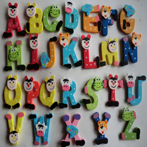 Baby 26PCS Letters Kids Wooden Cartoon Alphabet Fridge Magnet Educational Toy US