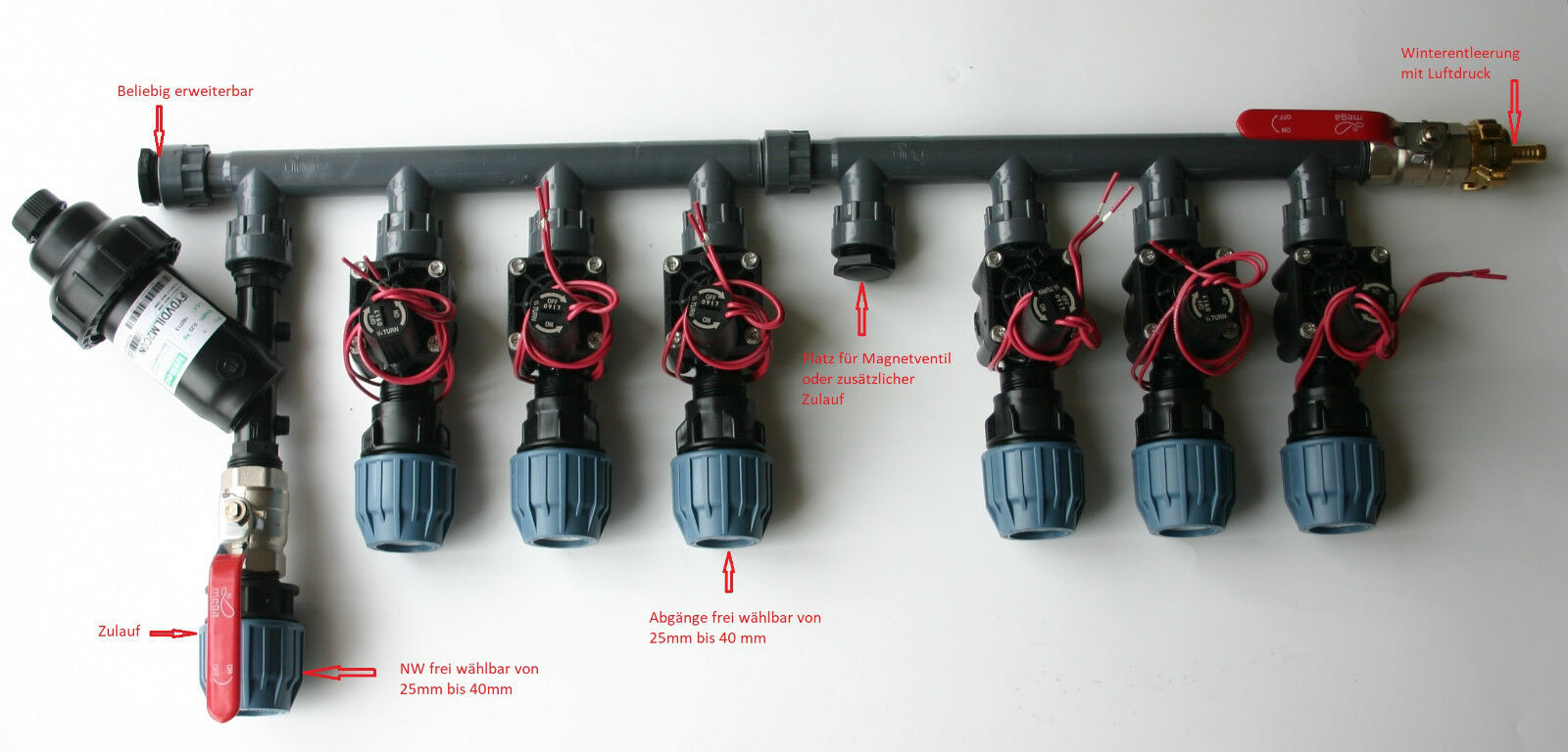 PE Rohr Kopfstation Grüneiler Bewässerung 2, 3, 4, 6 Hunter Magnetventile PGV