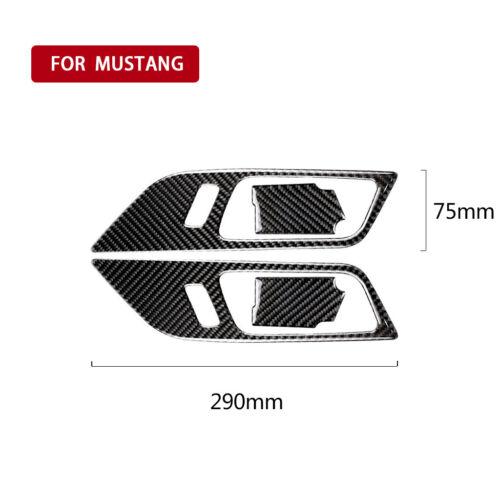 4Pcs For Ford Mustang 2015 2016 2017 Carbon Fiber Door Interior Handle Bowl Trim
