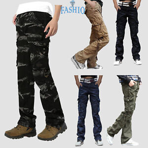 Men-039-s-Cotton-Relax-Fit-Casual-Cargo-Pants-Military-Army-Workwear-Twill-Trousers