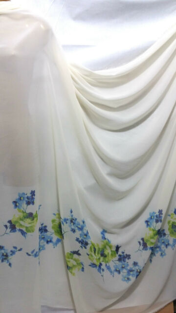 "*NEW* Soft Touch Cream Chiffon Floral Border  Print  Fabric 60"" Wide**FREE P&P**"