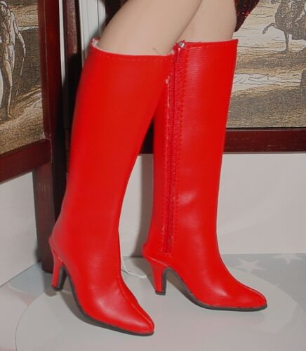 """Red Custom 64mm zip knee boots for 21/"""" MA CISSY Doll Shoes Dollmore Judith"""