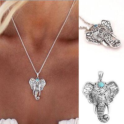 Women Tibetan Silver Charm Elephant Ethnic Choker Pendant Chain Necklace jewelry