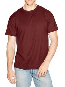 Hanes-Men-039-s-Beefy-T-Crew-Neck-Short-Sleeve-T-Shirt-Cardinal-M