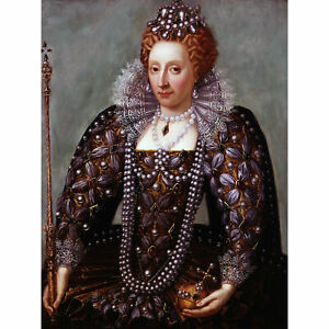 Portrait-Queen-Elizabeth-I-England-Painting-Royal-Historic-Large-Canvas-Print