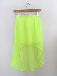 Women-039-s-Forever-21-New-High-Low-Neon-Yellow-Skirt-Size-XS-NWOT