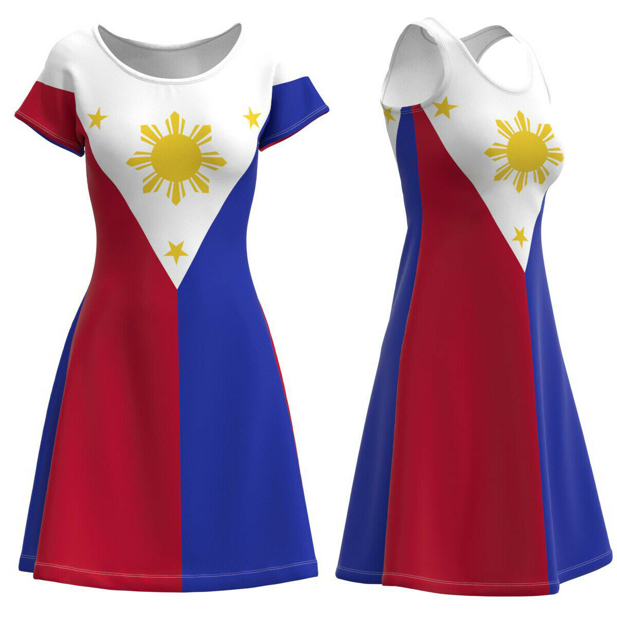 Philippines Flag Filipino Women's Short Sleeve Sleeveless Dress Size XS-5XL Plus