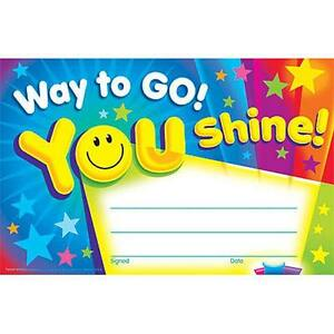 30 Kids Way To Go You Shine Award Children S Certificate