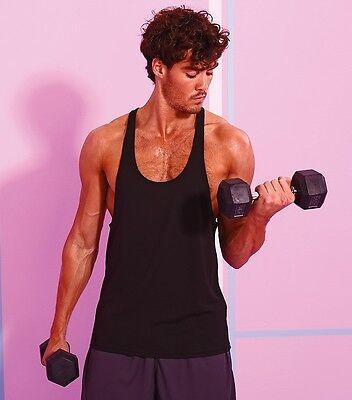 AWDis Mens Vest Gym Stringer Vest Polyester Textured Muscle Cool Vest JC009