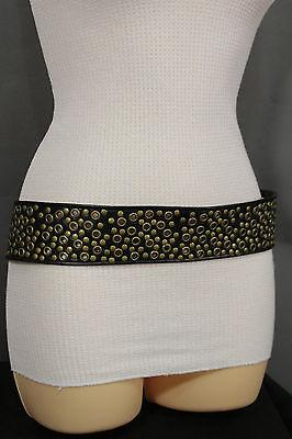 New Women Black Tie Fashion Belt Faux Leather Dark Gold Metal Studs Size S M  L