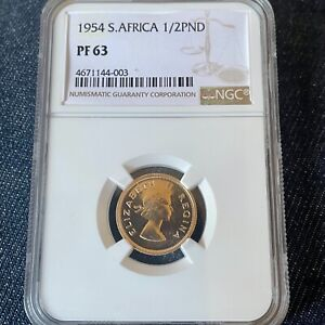 1954 Gold South Africa 1/2 Pound NGC AUTHENTICATED & GRADED Investment Coin