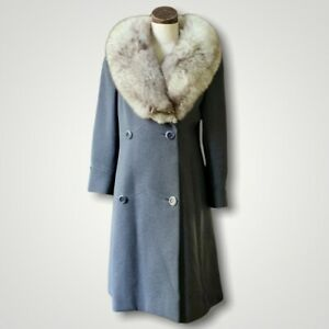 STEGARI New York MONTALDOS Wool Coat Jacket Vintage 1950s Fox Fur Collar S/M