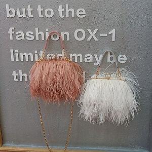 Women-039-s-Ladies-Ostrich-Feather-Shoulder-Bag-Purse-Handbag-Shoulderbag