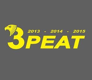 YELLOW-Hawthorn-Hawks-3peat-PREMIERS-2013-2014-2015-sticker-28cm-decal-AFL