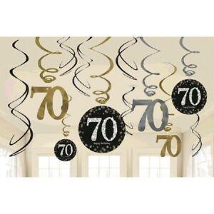 70th Hanging Swirls Milestone Sparkling Birthday Party Decorations