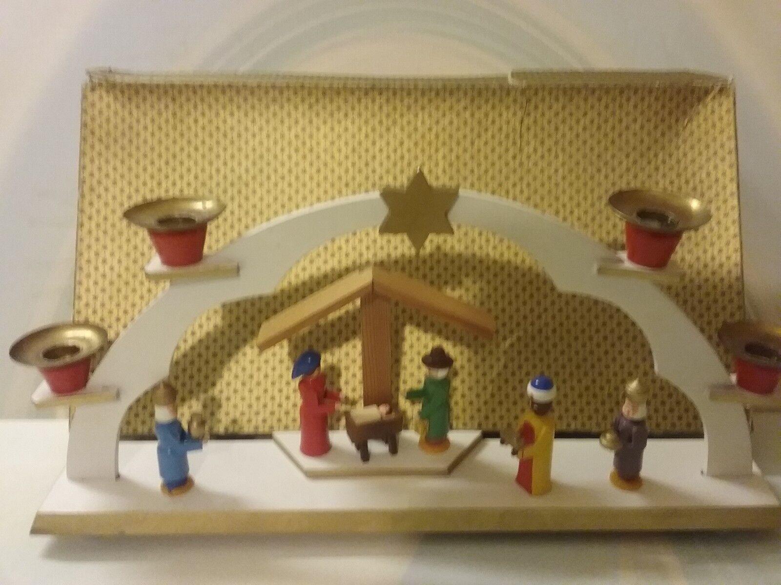 DREGENO Schwibbogen Krippe original Handarbeit Holz DDR Erzgebirge Weihnachten