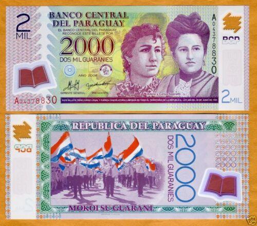 UNC Guaranies 2008 2,000 POLYMER Pick 228a A-Prefix Paraguay 2000