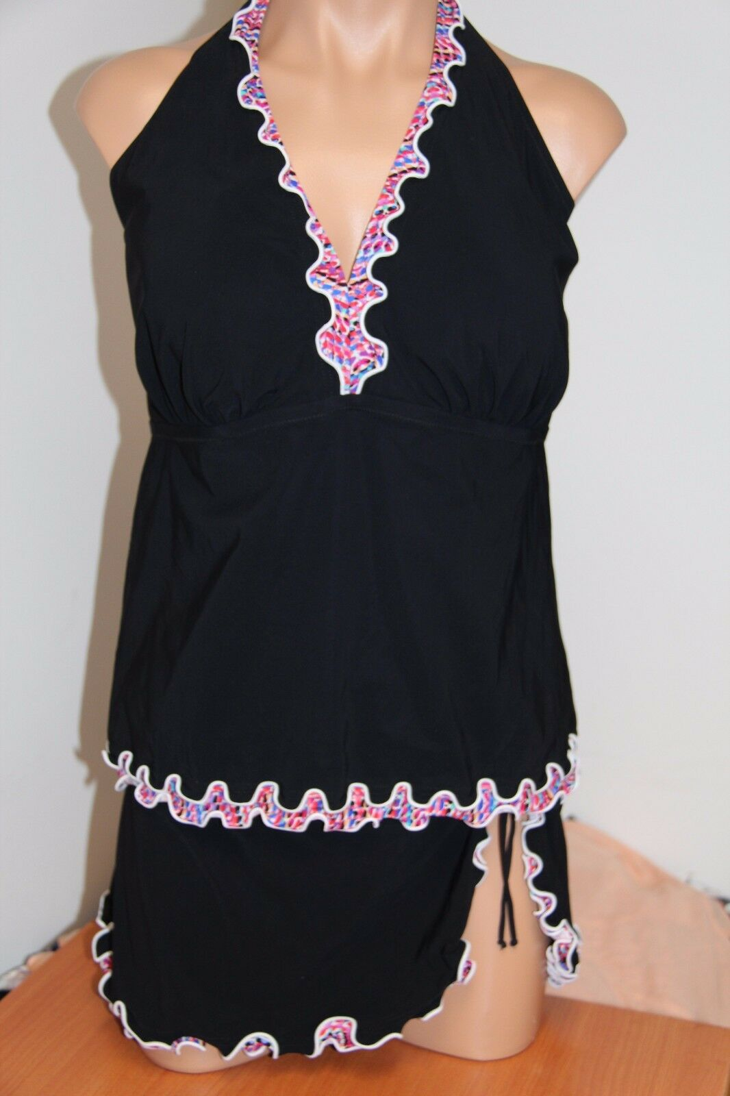 NWT Profile Swimsuit Tankini Bikini 2pc set Plus Sz 22W Multi Skirt Halter
