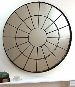 Battersea-Large-Bronzed-Metal-Round-industrial-window-Frame-Wall-Mirror-101cm