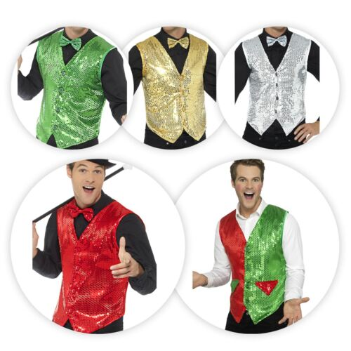 Mens Boys 20s Flapper Sequin Fun Carnival Waistcoat Party Fancy Dress Stag Do