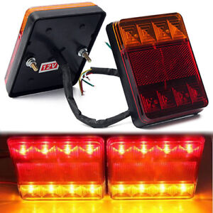 2x-12V-8LED-Trailer-Carvan-Van-Truck-Lorry-Lights-Tail-Lamp-Stop-Indicator-Lamp