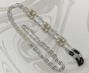 Cream-and-Crystal-Eyeglass-Chain-w-Swarovski-pearls-amp-beads-Glasses-Holder