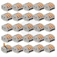 25x Terminal Block Lever Home Wire Connector 3 Pole Cable Clamp Nuts Reusable on sale
