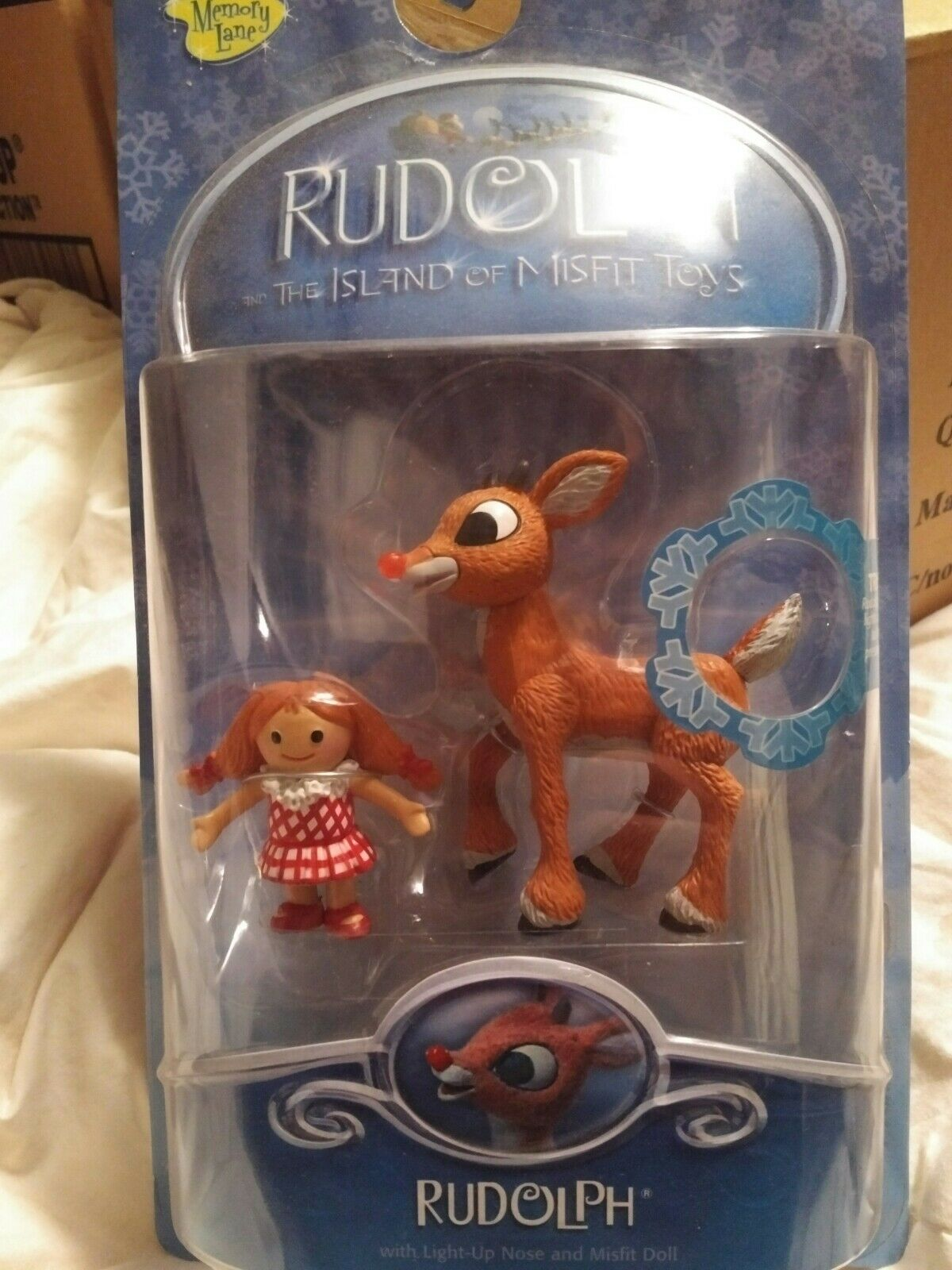 """MEMORY LANE """"Rudolph and Doll from Island of Misfit Toys"""" figures New 2002 Rare"""