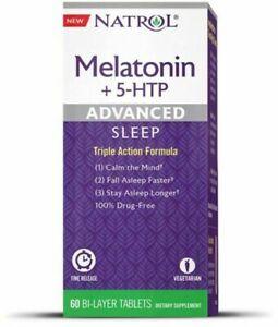 Melatonin + 5-HTP,6 mg Advanced Sleep, 60 Bi-Layer Tablets Fast Free Ship