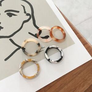 Women Vintage Acetate Ring Geometric Round Rings Finger Rings Jewelry