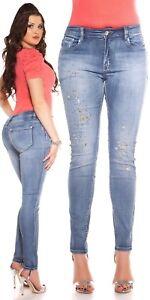Curvy Girls Damen Jeanshose Skinny Jeans Hose mit Stickerei und Strass