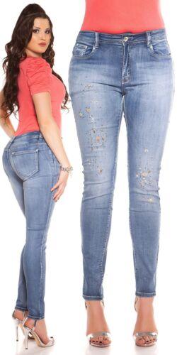Curvy Girls Damen Jeanshose Skinny Jeans mit Strass