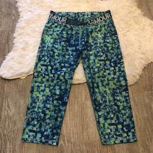 Under-Armour-Womens-Activewear-Pants-Green-Blue-Mid-Rise-Capri-Aerobic-Bottoms-M