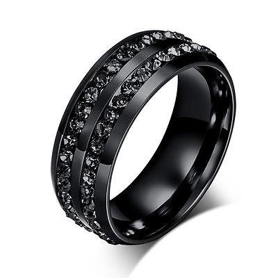 Black Stylish Titanium Steel Rhinestone Ring Men/Womens Wedding Engagement Band