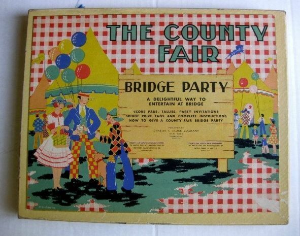 Rare 1930 Vintage The Country Fair Complete Bridge Card GameTally Set Never Used
