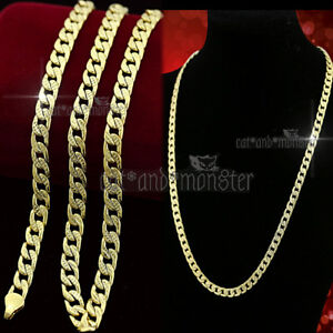 9K-YELLOW-GOLD-GF-PATTERNED-FLAT-CURB-RING-LINK-CHAIN-SOLID-MENS-WOMENS-NECKLACE