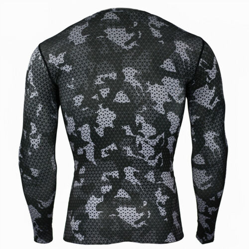 Mens Long Sleeve Base Layer Fitness Sports T Shirts Compression Tight Gym Tops