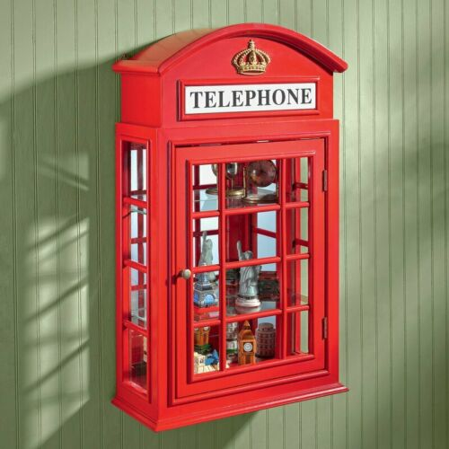 Telephone Wall Curio Cabinet Red British Style Wall Mount Furniture Wood Frame