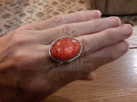 BRAND  NEW  SILVER RING WITH A LARGE TERRACOTTA  STONE  SIZE Q WITH GIFT BOX