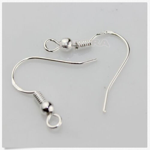 100PCS X plated EARRING HOOK COIL EAR WIRE Earring Findings 15MM FE