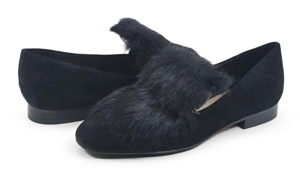 Donald J Pliner Lilian Black Rabbit Fur Kid Suede Loafer Flats Shoes US size 9