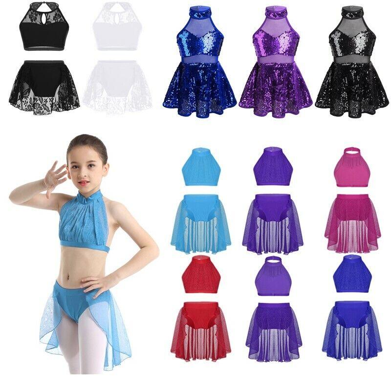 Kids Girls Sequins Skating Dress Ballet Tops+Leotard Tutu Dress Dance Costumes